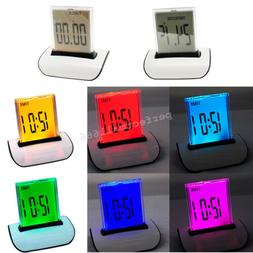 US SHIP  7 LED Color Changing Digital LCD Thermometer Calend
