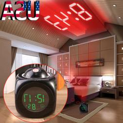 US Voice LCD Screen Alarm Digital Clock Time Wall Ceiling Pr