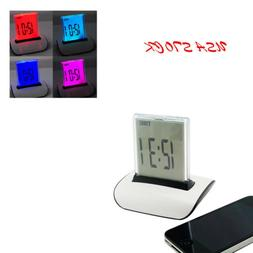 USA 7 Color Changing LED Digital LCD Thermometer Calendar Al