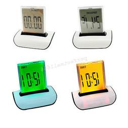 USA  7 LED Color Changing Digital LCD Thermometer Calendar S
