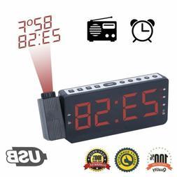 USB 7 Inch Led Digital Projection Alarm Clock Radio with Lar