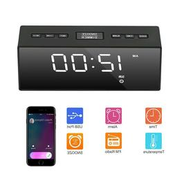 USB Digital LED Alarm Clock FM Ornaments Portable Battery Op