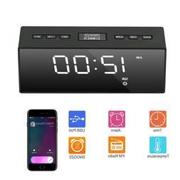 USB Digital LED Alarm Clock FM Ornaments Portable Battery Op
