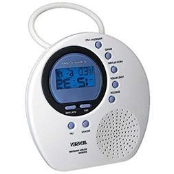 Jensen Vertical Digital AM/FM Splash Resistant Shower Clock