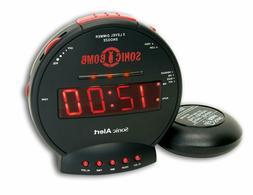 SBB500SS Sonic Bomb Extra-Loud Dual Alarm Clock with Red Fla