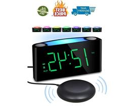 Vibrating Loud Alarm Clock with Bed Shaker for Heavy Sleeper