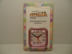 Vintage 90s Quartz Travel Bedside Alarm Clock INGRAHAM pink