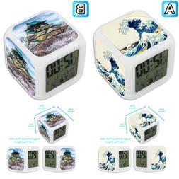 Vintage Art Japanese Castle Sea Alarm Digital Clock LED Ligh