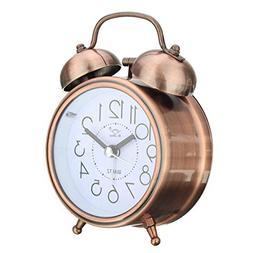 Jeteven Vintage Silent Alarm Clock Loud Twin Bell Mute Alarm