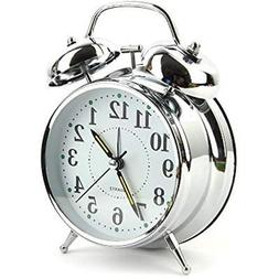 Vintage Style Alarm Clock - Twin Bell, Analog & Battery Oper