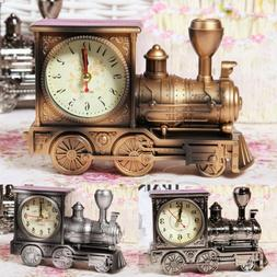 Vintage Train Engine Quartz Alarm Clock Analogue Retro Home