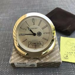 VINTAGE SEIKO TRAVEL ALARM CLOCK Goldtone Metal QQQ155G with
