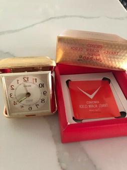 VINTAGE SEIKO TRAVEL ALARM CLOCK Goldtone Metal with BOX