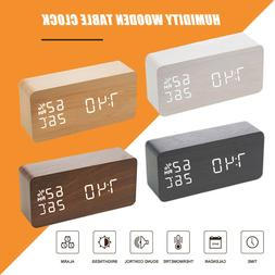 digital alarm clock wooden led temperature electronic