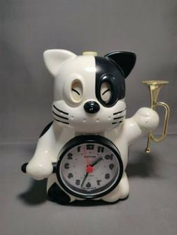 Vtg Rhythm Japan Quartz Alarm Clock Cat Bugle Reveille Wake