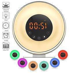 Wake Up Light Alarm Clock,  Sunrise Simulator With 7 Color N