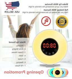Wake Up Light Alarm Clock Digital LED 6 Color Switch Radio S