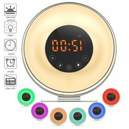 Wake Up Light Alarm Clock Sunrise Simulator FM 6 Sound 7 Col