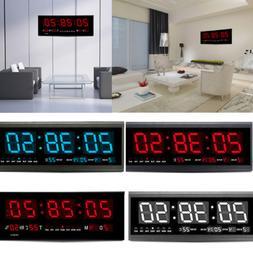 LED Large Digital Wall Jumbo Clock W. Calendar Thermometer H