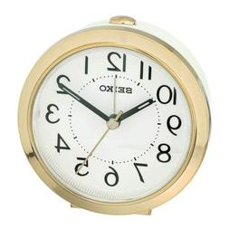 Seiko White Tacoma Quiet Sweep Quartz Beep Alarm Clock with