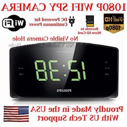 720p HD WIFI Alarm Clock Radio Spy Camera Wireless IP P2P Co