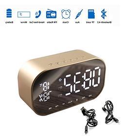 Wireless Bluetooth Speaker Player,Metal Digital Alarm Radio