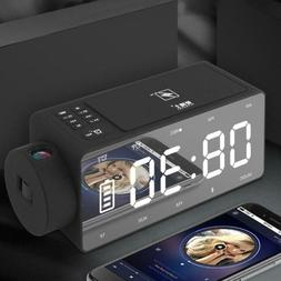 Wireless Charged Projection Clock Bluetooth Speaker LED Larg