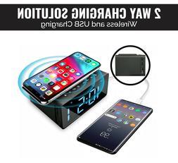 Wireless Charging Radio Clock Alarm Clock with Bluetooth Spe