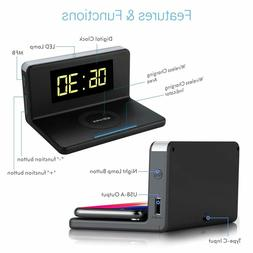 Wireless Qi Charger  + Quick Charge 3.0 USB C + Alarm Clock