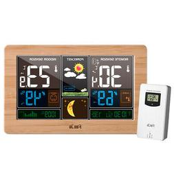 Wireless Temperature Humidity Moon Phase Alarm Clock with Ou
