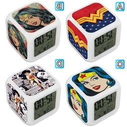 Wonder Woman Super Hero Digital LED Clock Multi Color Changi
