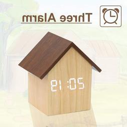 Wood Alarm Clock Digital Led with USB Charger,Dual Temperatu