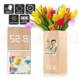 PM Wood Alarm Clock Modern Digital Wooden LED Desk Clock wit