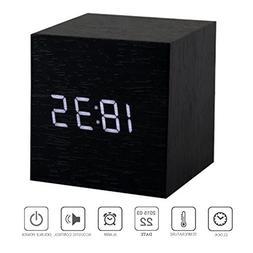 PerryLee Wood Wooden Cube Digital LED Light Desk Travel Mute