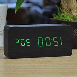 Digital LED Wood Wooden Desk Alarm Clock Timer Thermometer S