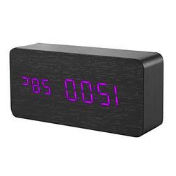 Wooden Digital Alarm Clock,Awakingdemi Black Wood Sound Cont