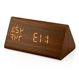 Oct17 Wooden Alarm Clock, Wood LED Digital Desk Clock, UPGRA