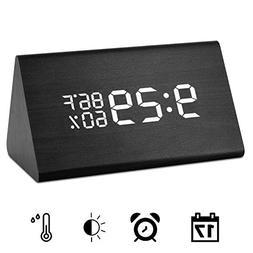 Wooden Digital Alarm Clock, Acoustic Control Digital LED Ala