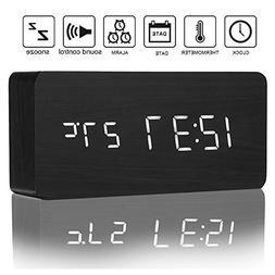 Izaway Wooden Digital Alarm Clock with Sounds Control, 3 Lev