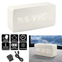 Oct17 Wooden Digital Alarm Clock, Wood Fashion Multi-functio