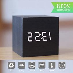 Zeekoo Wooden LED Digital Alarm Clock, Displays Time Date an