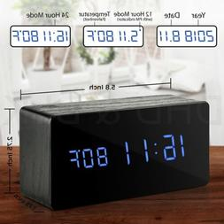 Wooden Alarm Clock Mirror Screen Digital Adjustable LED Disp