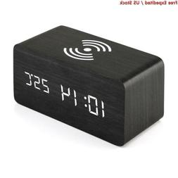 Oct17 Wooden Alarm Clock with Qi Wireless Charging Pad Compa