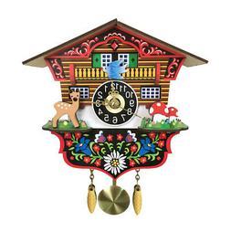 wooden cuckoo wall clock swinging pendulum traditional