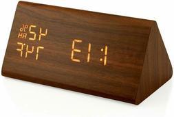 Wooden LED Alarm Clock, Electronic Digital Desk Clocks for H