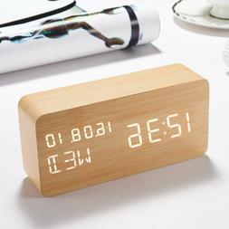 Wooden LED Alarm Clock, Electronic Digital Desk Clocks for H