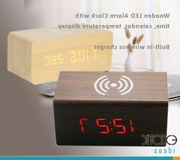 Wooden LED Alarm Clock Time Date Temperature Display w iPhon