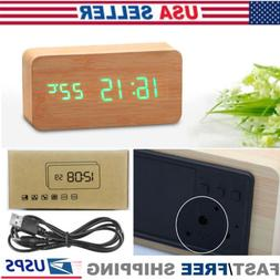 Wooden LED Digital Alarm Clock Voice Control Calendar Thermo