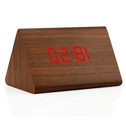 Oct17 Wooden Wood Clock, 2018 New Version LED Alarm Digital