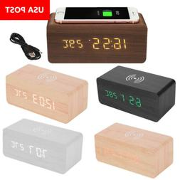 Wooden Wood Digital LED Desk Alarm Clock Thermometer Qi Wire